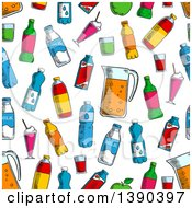 Seamless Background Pattern Of Sketched Beverages