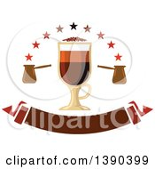 Clipart Of A Mochachino Coffee Drink In A Tall Glass With Stars And A Banner Royalty Free Vector Illustration