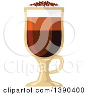 Clipart Of A Mochachino Coffee Drink In A Tall Glass Royalty Free Vector Illustration