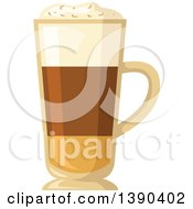 Clipart Of A Hot Irish Cream Coffee Drink In A Tall Glass Royalty Free Vector Illustration