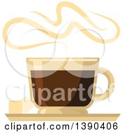 Clipart Of A Hot Espresso Coffee Drink In A Glass Royalty Free Vector Illustration