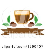 Clipart Of A Latte Coffee Drink In A Glass With Leaves And Beans Over A Blank Banner Royalty Free Vector Illustration