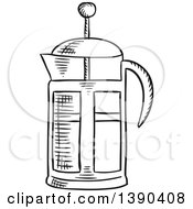 Clipart Of A Black And White Sketched French Press Royalty Free Vector Illustration by Vector Tradition SM