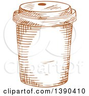 Clipart Of A Brown Sketched Take Out Coffee Cup Royalty Free Vector Illustration