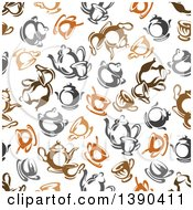 Clipart Of A Seamless Background Pattern Of Coffee And Tea Royalty Free Vector Illustration