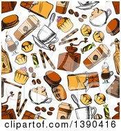 Clipart Of A Seamless Background Pattern Of Sketched Sweets And Coffee Royalty Free Vector Illustration