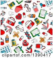 Clipart Of A Seamless Background Pattern Of Sketched Medical Items Royalty Free Vector Illustration by Vector Tradition SM