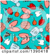 Seamless Background Pattern Of Sketched Human Organs And Medical Items On Turquoise