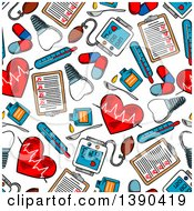 Clipart Of A Seamless Background Pattern Of Sketched Cardiology Items Royalty Free Vector Illustration by Vector Tradition SM