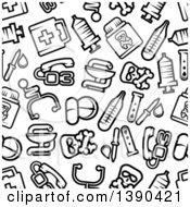 Clipart Of A Seamless Background Pattern Of Black And White Medical And Pharmaceutical Items Royalty Free Vector Illustration by Vector Tradition SM