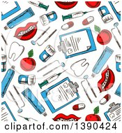 Seamless Background Pattern Of Sketched Dental Items