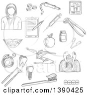 Clipart Of A Black And White Sketched Female Dentist And Items Royalty Free Vector Illustration by Vector Tradition SM