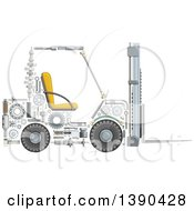 Clipart Of A Forklift Made Of Mechanical Parts Royalty Free Vector Illustration by Vector Tradition SM