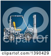 Clipart Of A Forklift Made Of Mechanical Parts On Blue Royalty Free Vector Illustration by Vector Tradition SM