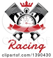 Clipart Of A Racing Stopwatch Over Crossed Pistons With A Blank Red Banner Crown And Text Royalty Free Vector Illustration by Vector Tradition SM