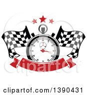 Clipart Of A Racing Stopwatch And Stars Over Crossed Checkered Flags And A Blank Red Banner Royalty Free Vector Illustration