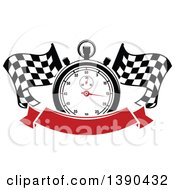 Clipart Of A Racing Stopwatch Over Crossed Checkered Flags And A Blank Red Banner Royalty Free Vector Illustration