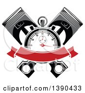 Clipart Of A Racing Stopwatch Over Crossed Pistons With A Blank Red Banner Royalty Free Vector Illustration