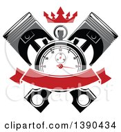 Clipart Of A Racing Stopwatch Over Crossed Pistons With A Red Crown And Blank Banner Royalty Free Vector Illustration by Vector Tradition SM
