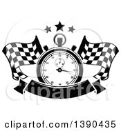 Clipart Of A Black And White Racing Stopwatch And Stars Over Crossed Checkered Flags And A Blank Banner Royalty Free Vector Illustration