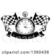 Clipart Of A Black And White Racing Stopwatch Over Crossed Checkered Flags And A Blank Banner Royalty Free Vector Illustration by Vector Tradition SM