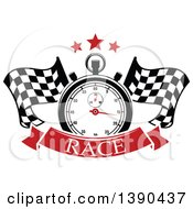 Clipart Of A Racing Stopwatch And Stars Over Crossed Checkered Flags And A Banner With Text Royalty Free Vector Illustration by Vector Tradition SM