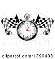 Clipart Of A Racing Stopwatch Over Crossed Checkered Flags Royalty Free Vector Illustration
