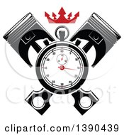 Clipart Of A Racing Stopwatch Over Crossed Pistons With A Red Crown Royalty Free Vector Illustration