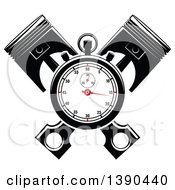 Clipart Of A Racing Stopwatch Over Crossed Pistons Royalty Free Vector Illustration