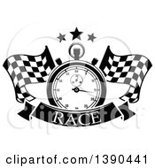Clipart Of A Black And White Racing Stopwatch And Stars Over Crossed Checkered Flags And A Banner With Text Royalty Free Vector Illustration by Vector Tradition SM