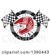 Clipart Of A Red Racing Helmet Over Crossed Checkered Flags And A Wheel Royalty Free Vector Illustration by Seamartini Graphics