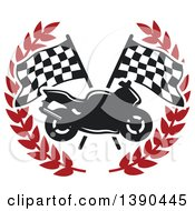 Motorcycle Over Crossed Checkered Racing Flags In A Red Wreath