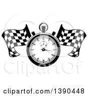 Clipart Of A Black And White Racing Stopwatch Over Crossed Checkered Flags Royalty Free Vector Illustration