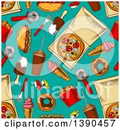 Clipart Of A Seamless Background Pattern Of Junk Foods On Turquoise Royalty Free Vector Illustration