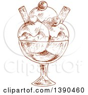 Clipart Of A Brown Sketched Ice Cream Sundae Royalty Free Vector Illustration by Vector Tradition SM