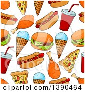 Clipart Of A Seamless Background Pattern Of Fast Foods Royalty Free Vector Illustration