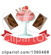Clipart Of A Strawberry Ice Cream Sundae Dessert With Text And Chocolate Royalty Free Vector Illustration