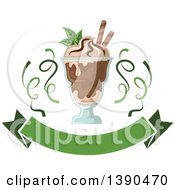 Clipart Of A Mint And Chocolate Ice Cream Sundae Dessert With A Blank Banner And Ribbons Royalty Free Vector Illustration by Vector Tradition SM