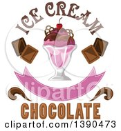 Clipart Of A Cherry And Chocolate Ice Cream Sundae Dessert With Text Royalty Free Vector Illustration