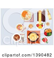 Clipart Of Traditional Swiss Cheese And Chocolate Fondue Served With Croutons And Fresh Vegetables Melted Cheese Raclette With Potatoes And Sausages Potato Fritter Rosti And Cured Lamb Bircher Muesli With Fresh Fruits And Wine Bottle Royalty Free
