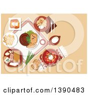 Clipart Of Ukrainian Cuisine Dishes With Borscht Served In Ceramic Pot And Sour Cream Stuffed Cabbage Rolls And Vegetable Dumplings Vareniki Topped With Fried Onion Sausages And Fatback Served With Garlic And Rye Bread Pancakes And Jug Of Milk Ro