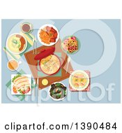 Clipart Of Traditional Belgian Cuisine With Ceramic Pot Of Chicken Stew Surrounded By Gratin Of Endives Wrapped With Ham Mashed Potato With Sausages Mussels And Beef Stew With French Fries White Pork Sausages And Waffles Topped With Fruits Royalty