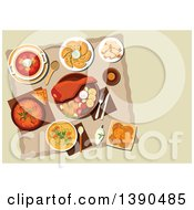 Clipart Of Polish Cuisine Dishes With Pork Leg And Grilled Vegetables Meat And Cabbage Stew Bigos Noodle Chicken Soup Vegetarian Dumplings Pierogi Beet Soup Potato Pancakes Cookies With Jam And Bottle Of Dark Beer Royalty Free Vector Illustratio