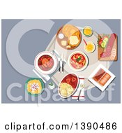 Clipart Of Traditional Hungarian Cuisine Fried Bread Langos With Sour Cream And Cheese Served With Winter Salami Egg Noodles With Cheese And Meat Stew Spicy Fish Soup With Hot Paprika Pepper Vegetable Salad And Stove Cakes With Lemonade Royalty Fr