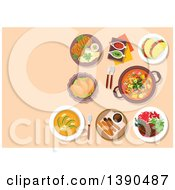 Clipart Of Argentine Cuisine With Cazuela And Seafood Empanadas And Vegetarian Tortillas Soup Locro With Avocado And Beef Shank Ossobuco Pork Chop Milanese Sauce Boats With Tuco And Chimichurri Sauces Hot Chocolate With Churros Royalty Free Vecto