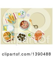 Clipart Of Chicken Legs Served With Rice And Guacamole Bread Casserole With Dried Cranberries Fruits Pork Ribs And Potato Stew Grilled Corn Cobs With Spicy Herbs And Almond Flakes Fried Artichoke Royalty Free Vector Illustration by Vector Tradition SM