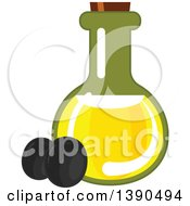 Clipart Of A Bottle Of Oil And Black Olives Royalty Free Vector Illustration