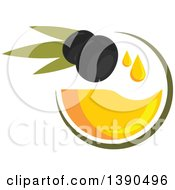 Clipart Of Black Olives With Oil Royalty Free Vector Illustration