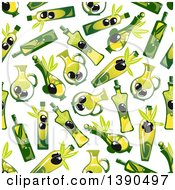 Seamless Background Pattern Of Olives And Oil