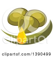 Clipart Of Green Olives And Leaves Royalty Free Vector Illustration